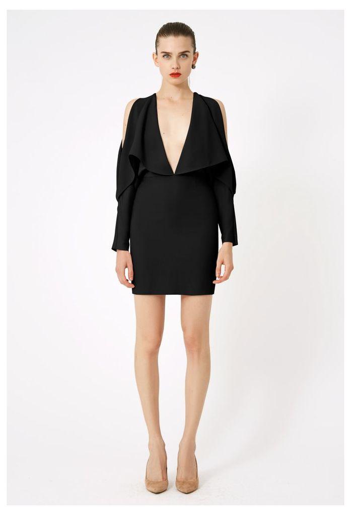 Larissa Deep Plunge Mini Dress - Black