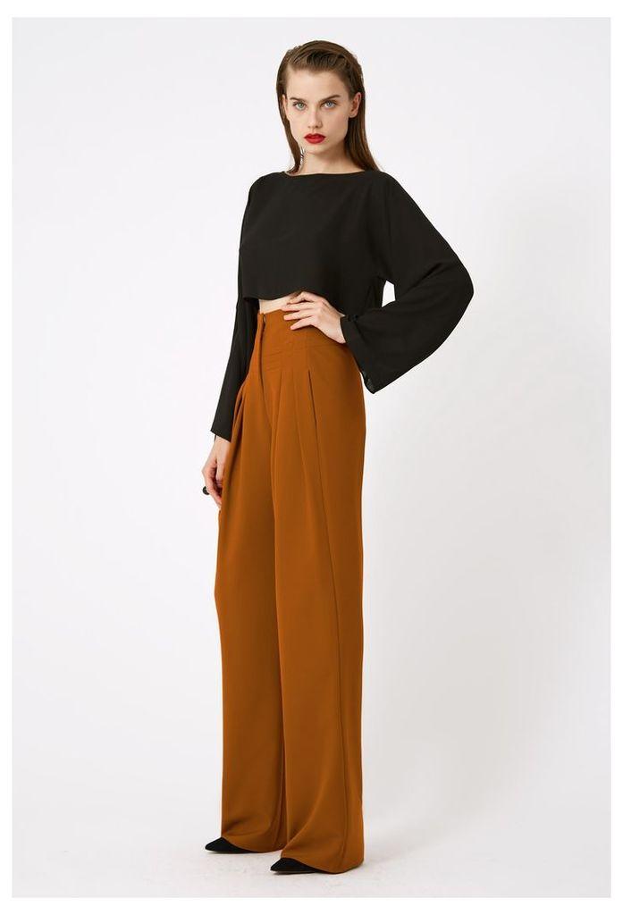 Luma Wide Sleeved Crop Top - Black