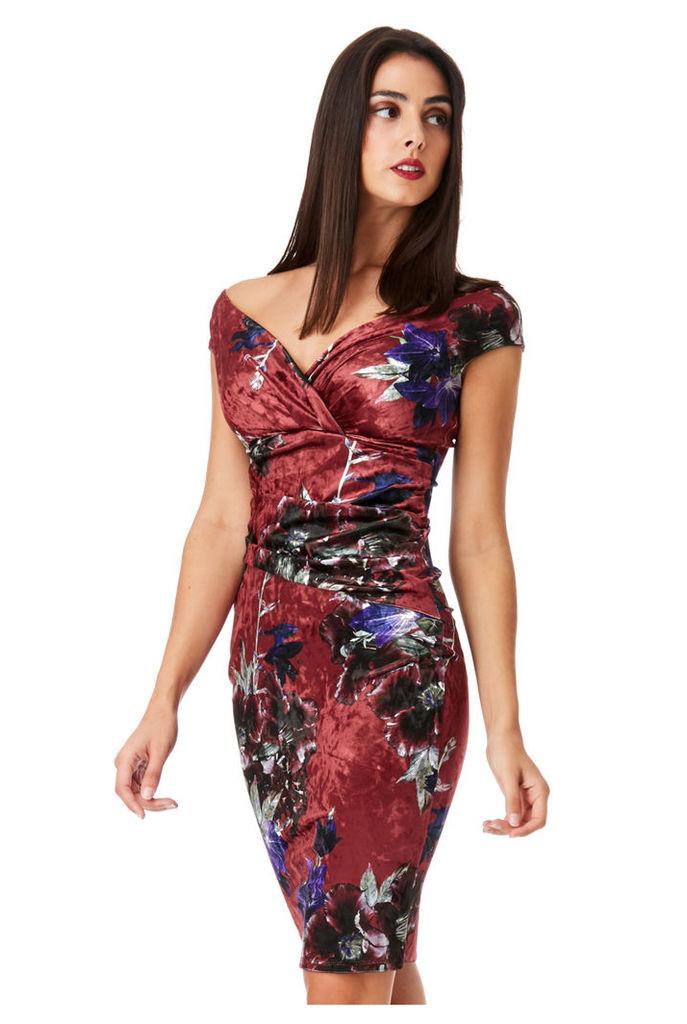 Bardot Velvet Floral Print Midi Dress - Wineprint