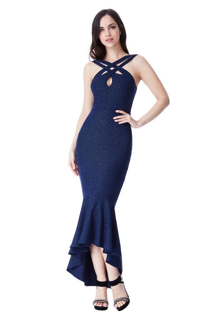 Cross Over Glitter Maxi Dress with Peplum Hem - Navy