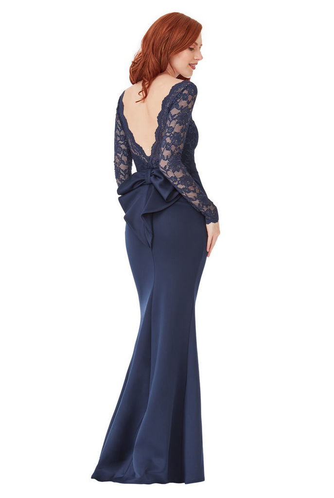 Open Back Lace Maxi Dress with Bow Detail - Navy