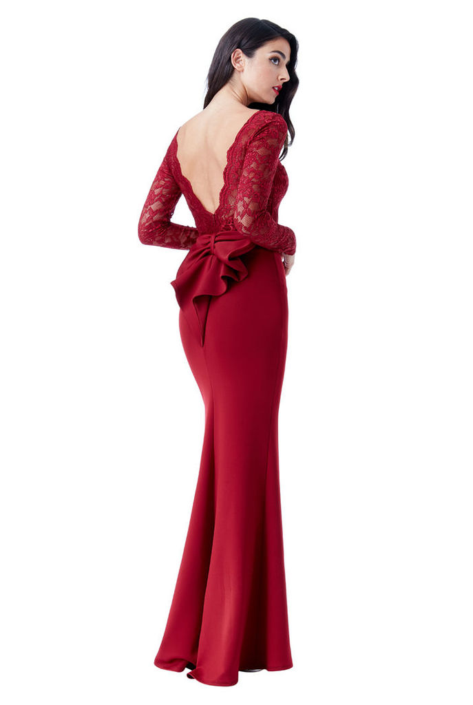 Open Back Lace Maxi Dress with Bow Detail - Wine