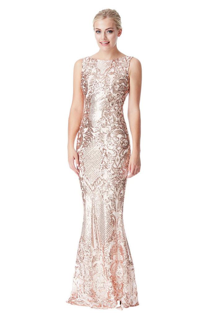 Brocade Print Sequin Maxi Dress - Champagne