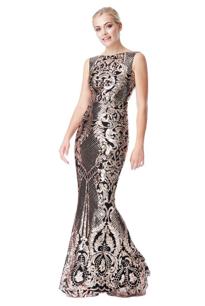 Brocade Print Sequin Maxi Dress - Black