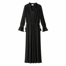 Plissé Maxi Dress with Ruffles & Tassels