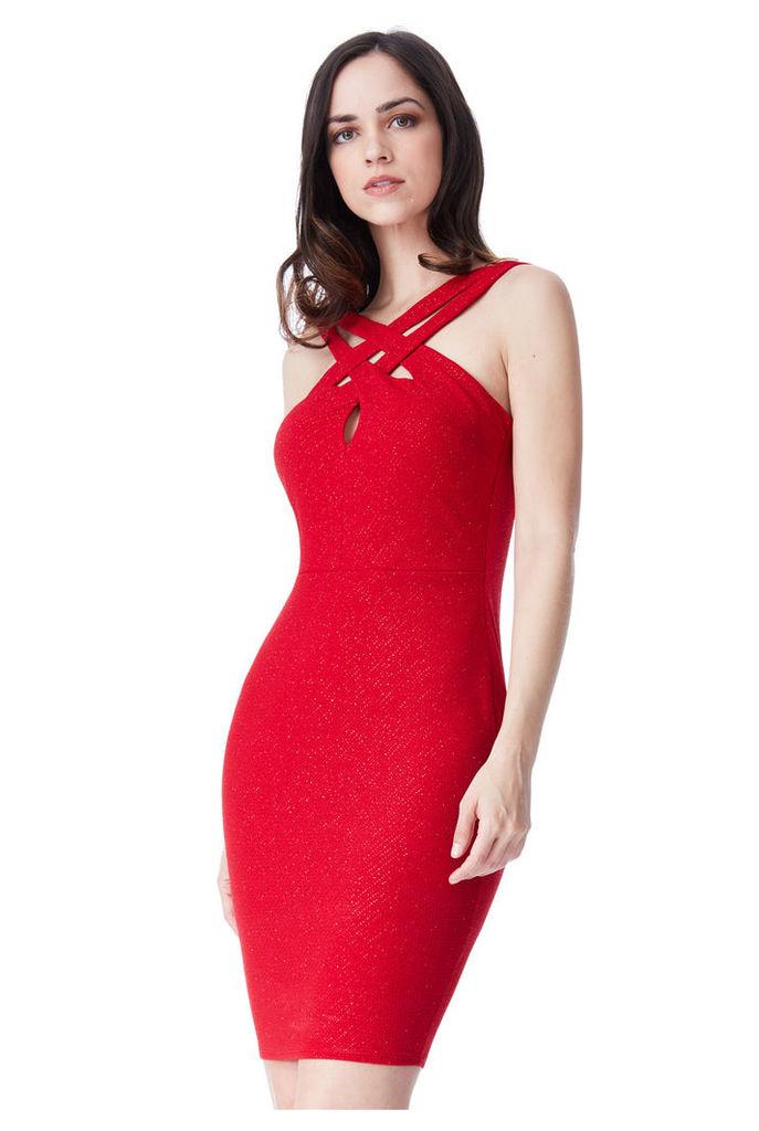 Cross Over Glitter Midi Dress - Red