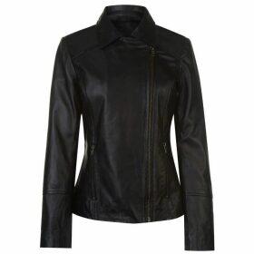 Firetrap Blackseal Embroidered Leather Jacket - Black