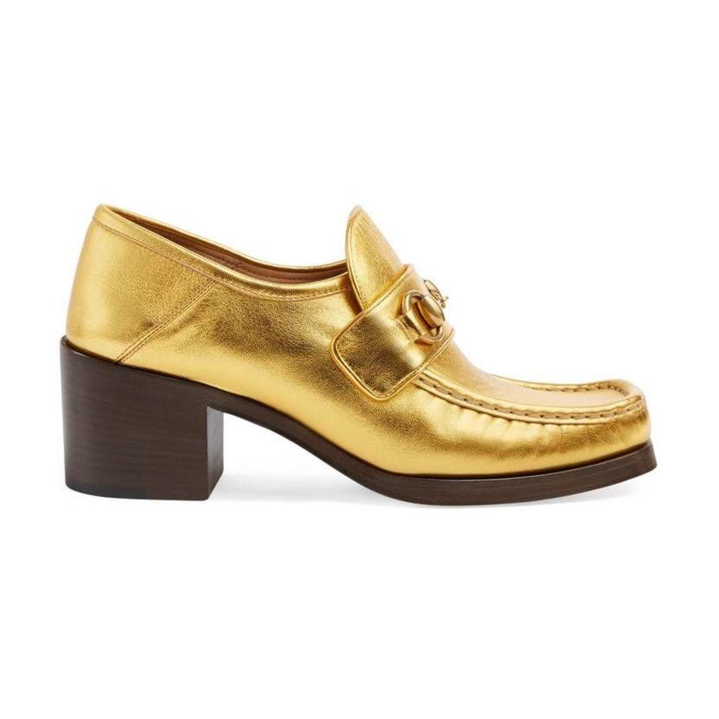 Metallic leather Horsebit loafers