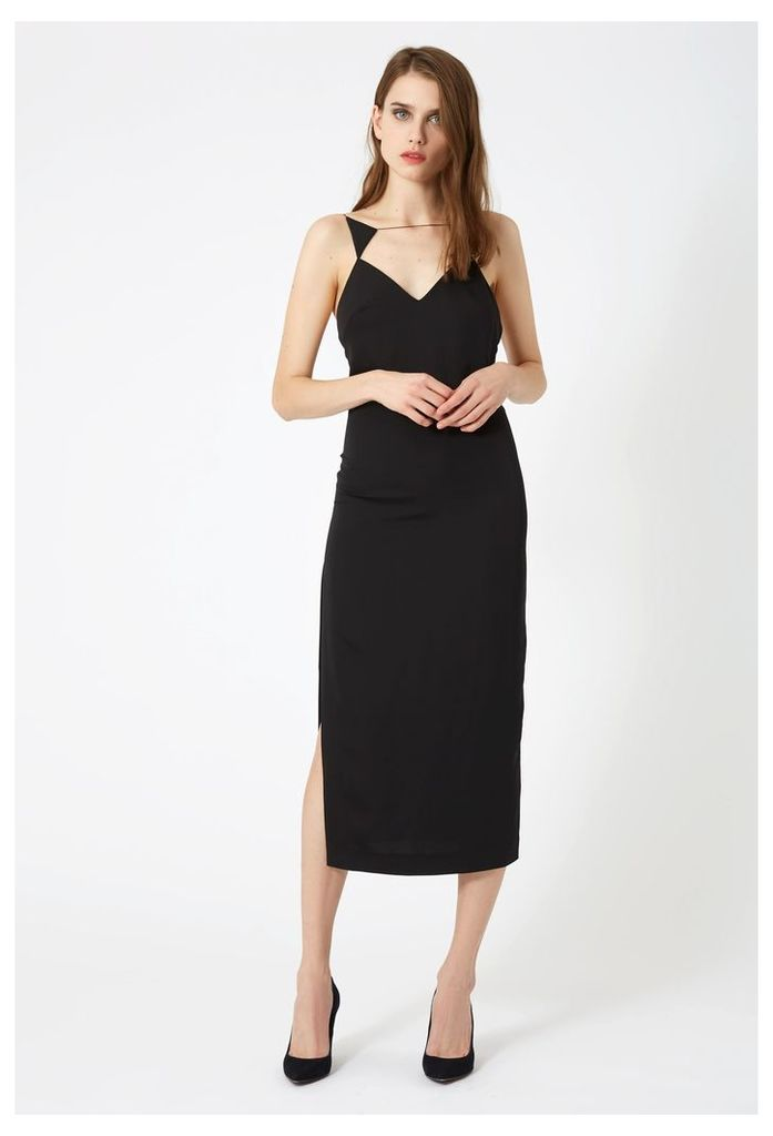 Laine Slip Midi Dress - Black