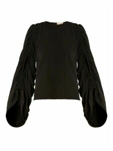 Roksanda - Safiya Ruched-sleeve Silk-georgette Blouse - Womens - Black