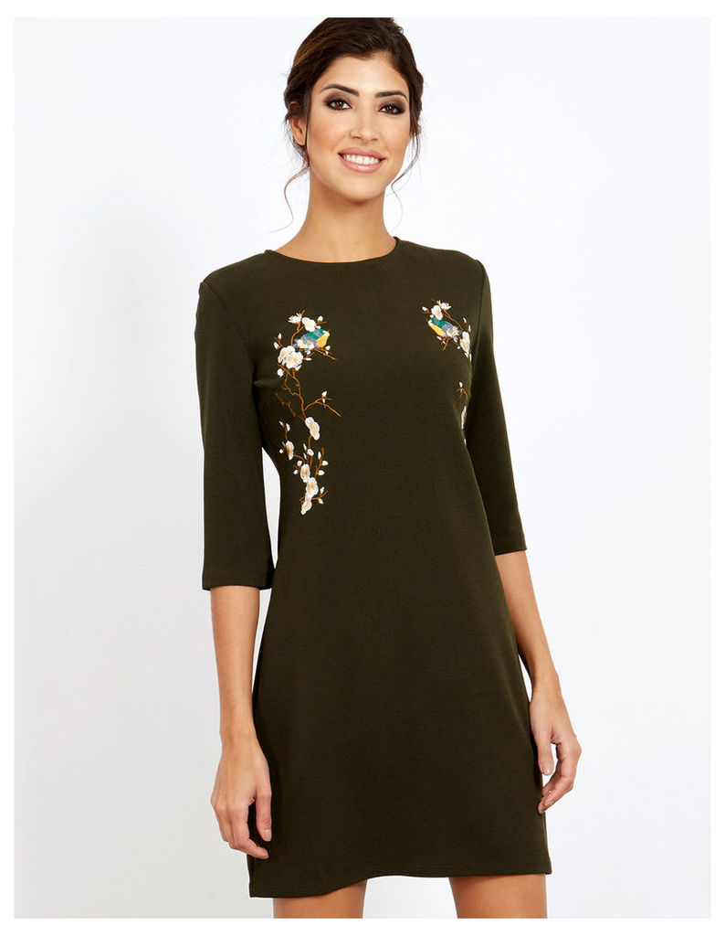 COLINE - Embroidered Bodycon Forest Dress