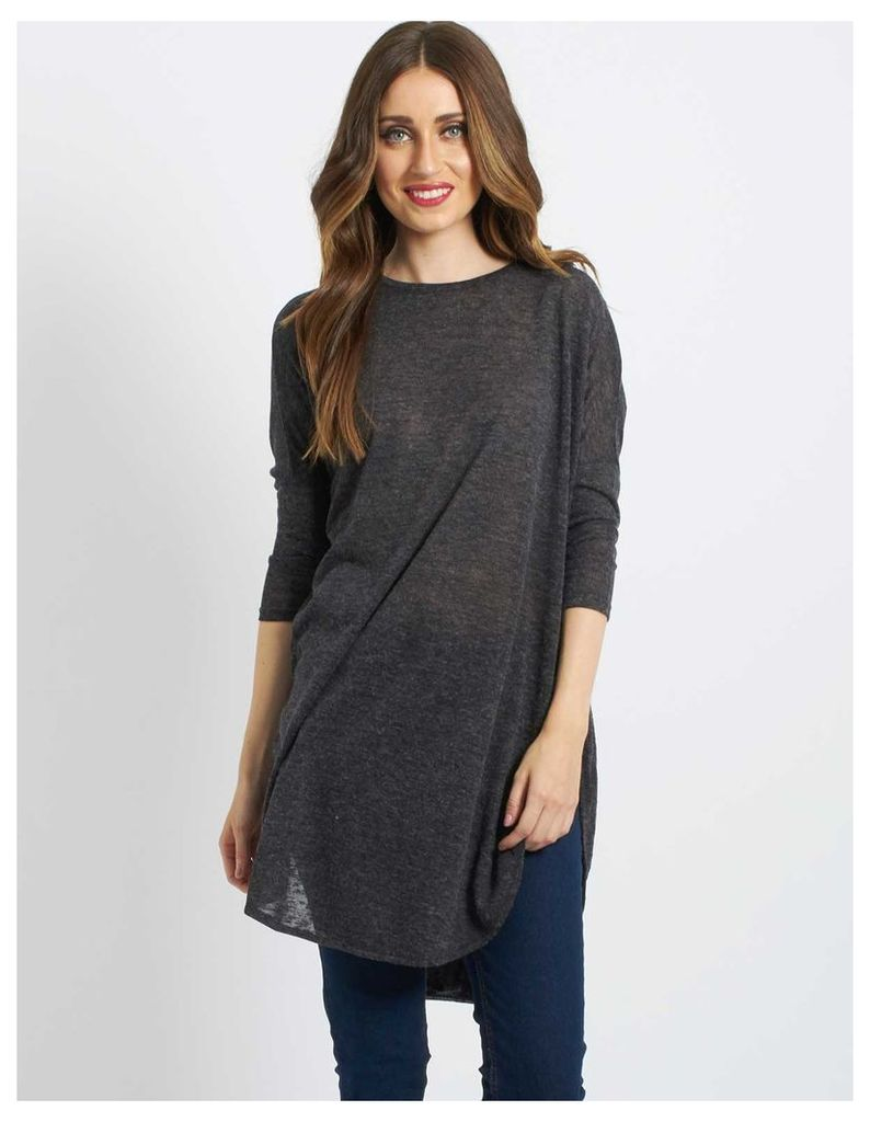 ELLE - Chiffon Back Oversize Top Charcoal