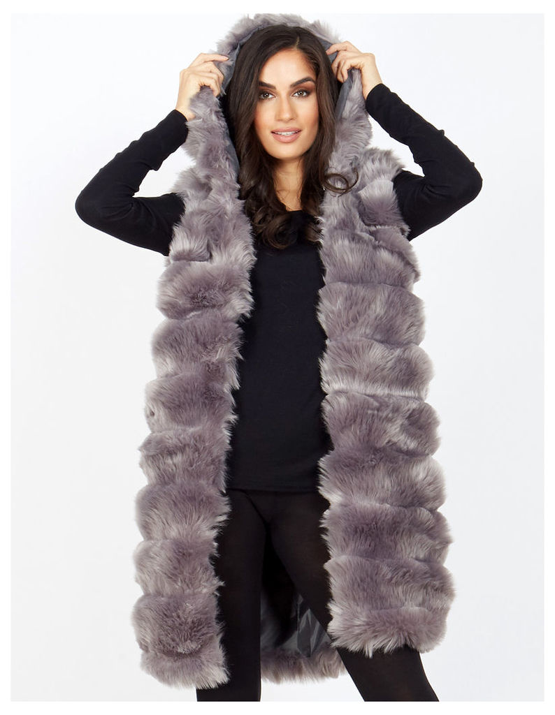 ORNELLA - Hooded Faux Fur Grey Gilet
