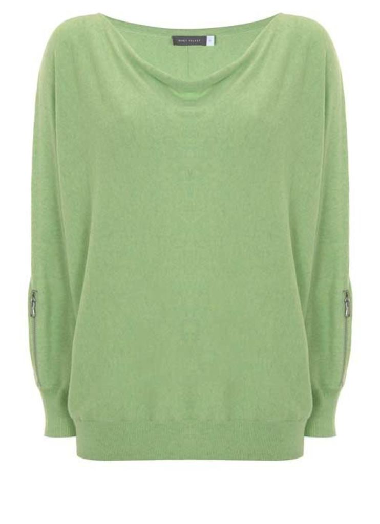 Lime Marl Zip Sleeve Batwing
