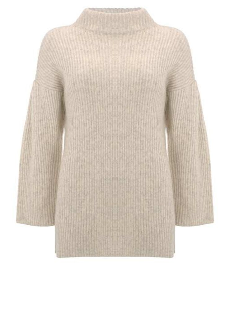 Oatmeal Wide Sleeve Rib Knit