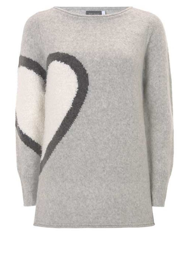 Silver Grey Heart Motif Knit