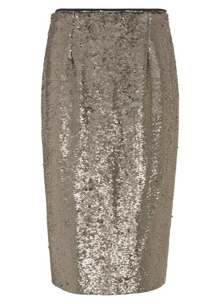 Taupe All Over Sequin Skirt