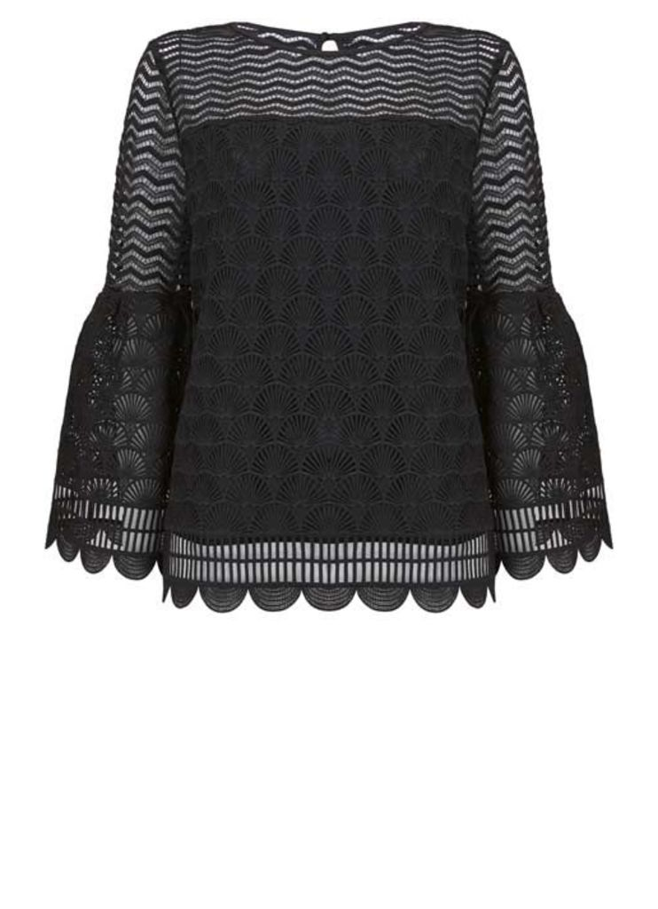 Black Deco Lace Fluted Blouse