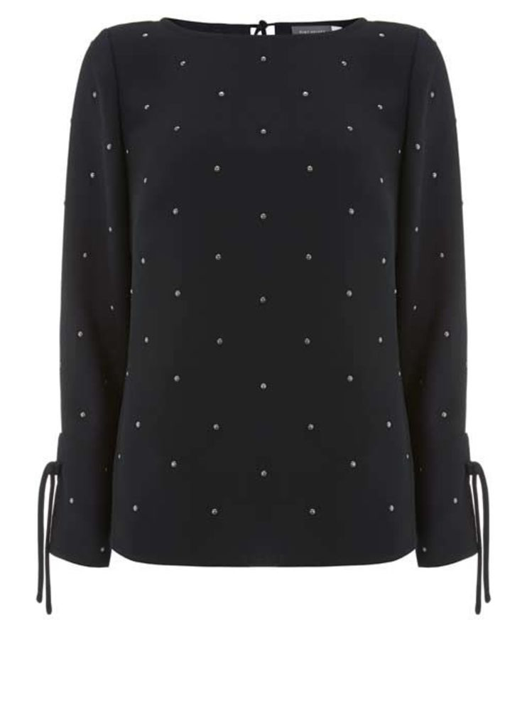 Black Studded Tie Detail Top