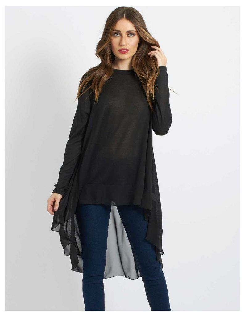 GRAYCE - Chiffon Back Knit Swing Top Black