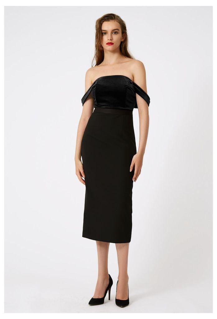 Francessca Off The Shoulder Midi Dress - Black