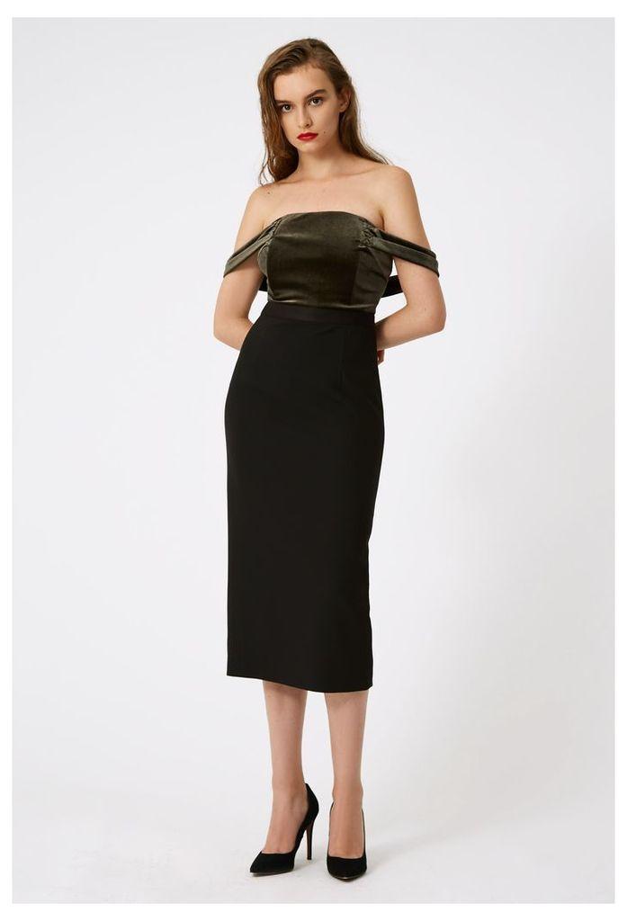 Francessca Off The Shoulder Midi Dress - Bottle Green / Black