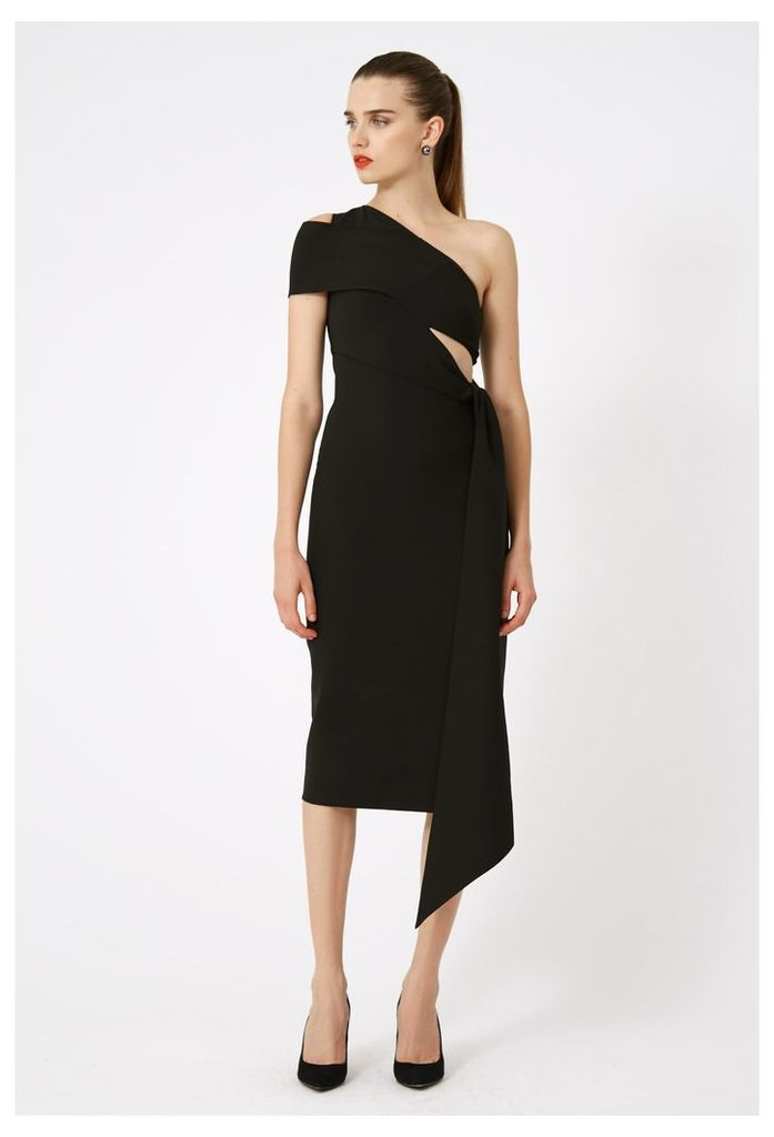 Lolita One Shoulder Midi Dress - Black