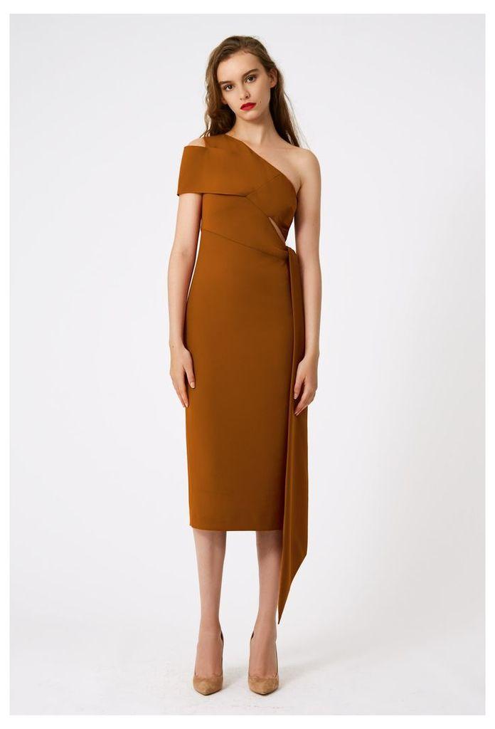 Lolita One Shoulder Midi Dress - Burnt Rust