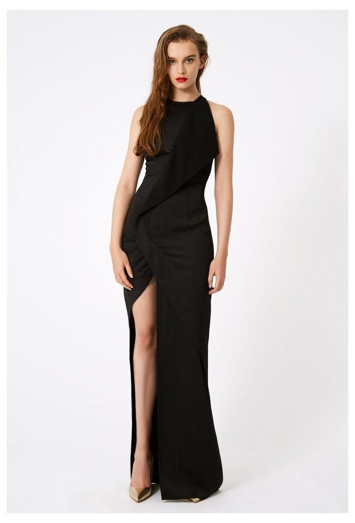 Sybil High Split Maxi Dress - Black
