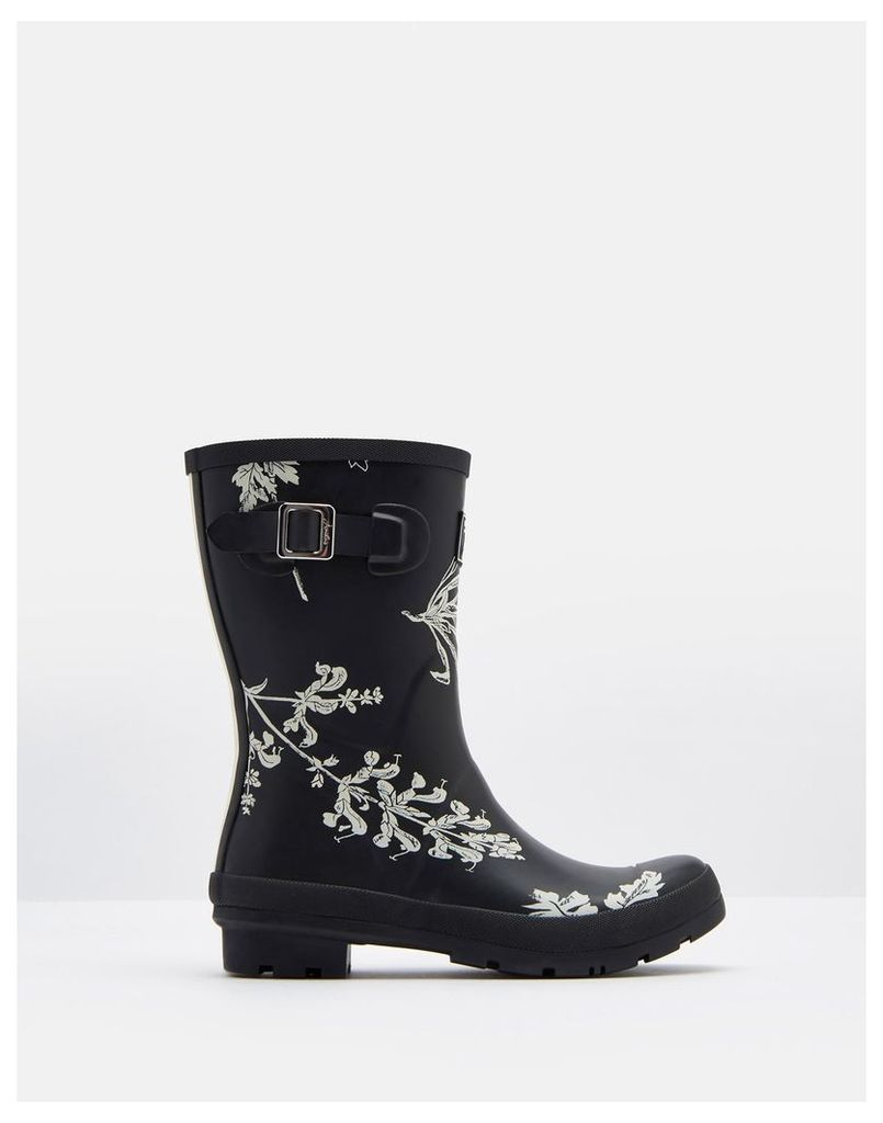 Black Botanical Molly Mid-Height Printed Welly  Size Adult 7 | Joules UK
