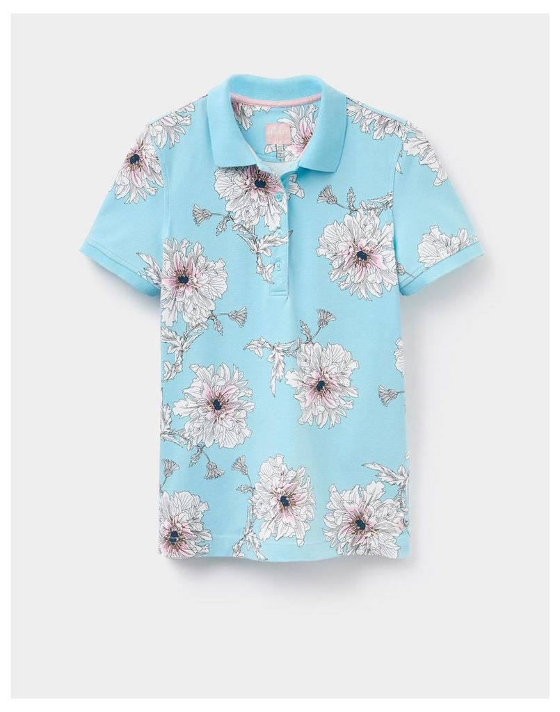 Duck Egg Peony Trinity Printed Polo Shirt  Size 16 | Joules UK