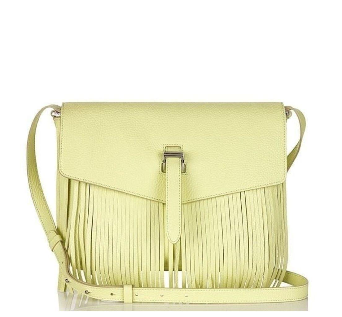 Maisie Medium Cross Body Bag Lime Fringing