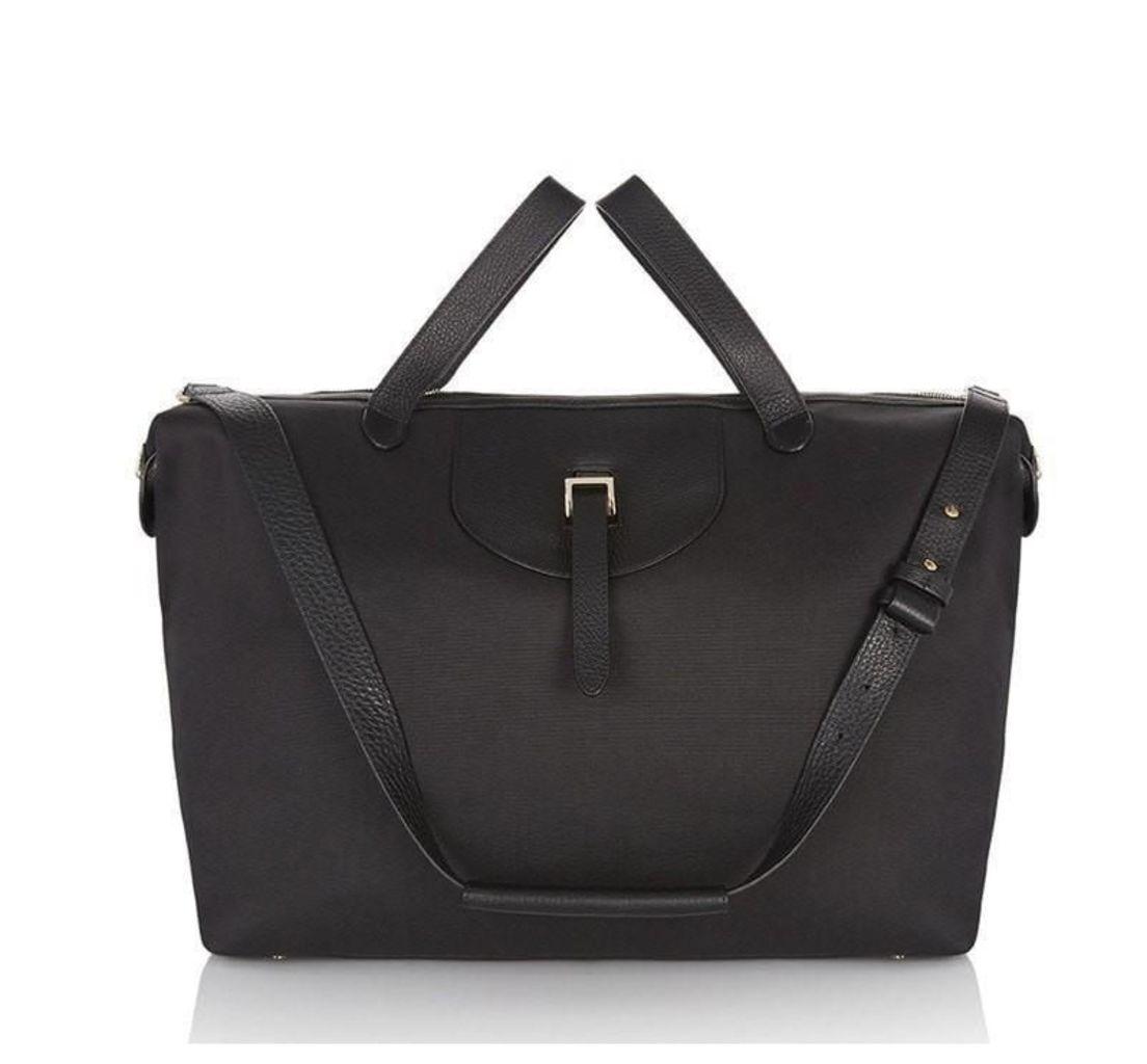 Thela Weekender Medium Tote Bag Black Nylon