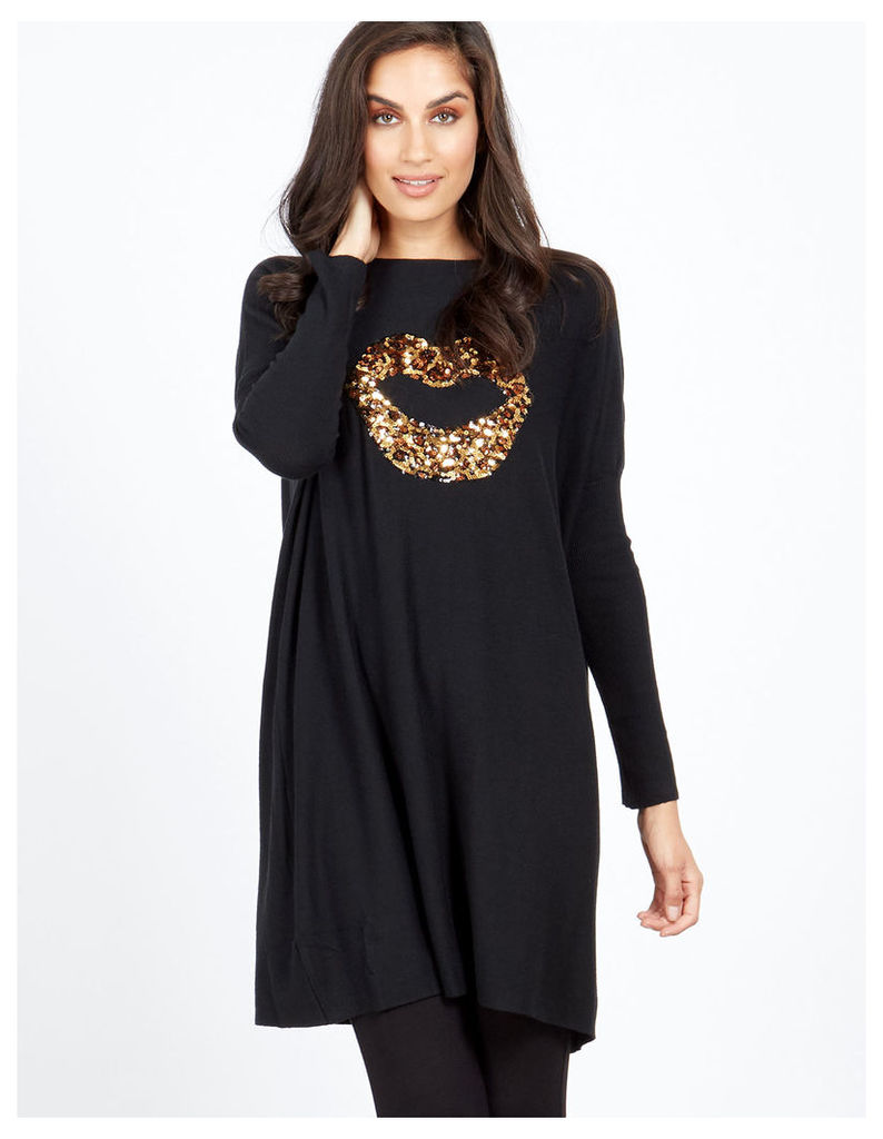 SAVITA - Oversized Gold Leopard Lips Jumper
