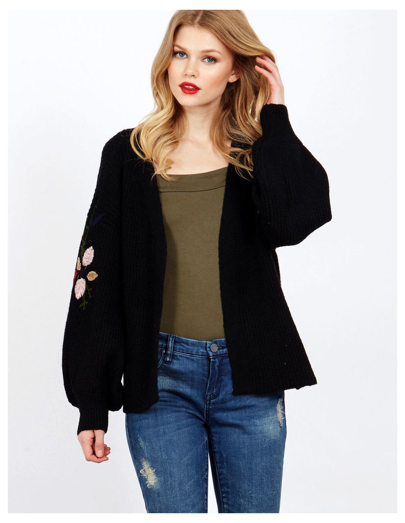 DUNYA - Puffed Sleeves Embroidery Black Cardigan