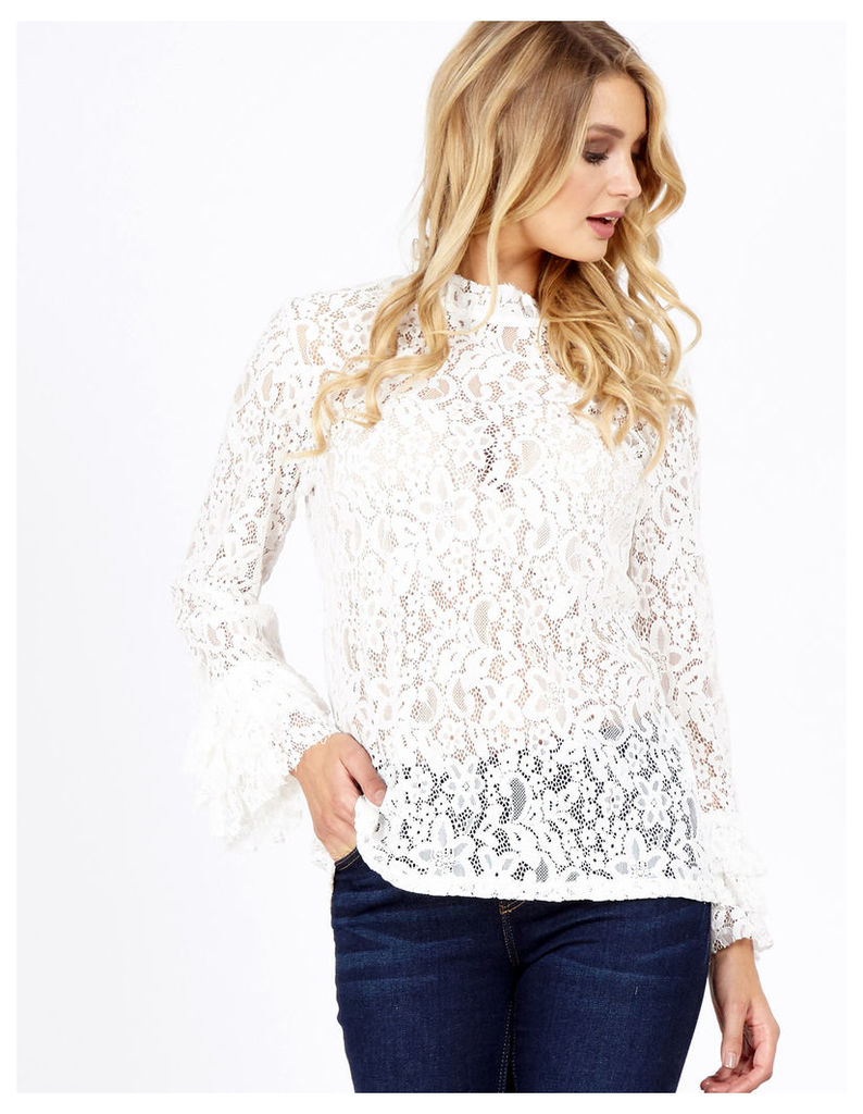 ALICIA - Crochet High Neck Sleeve White Top