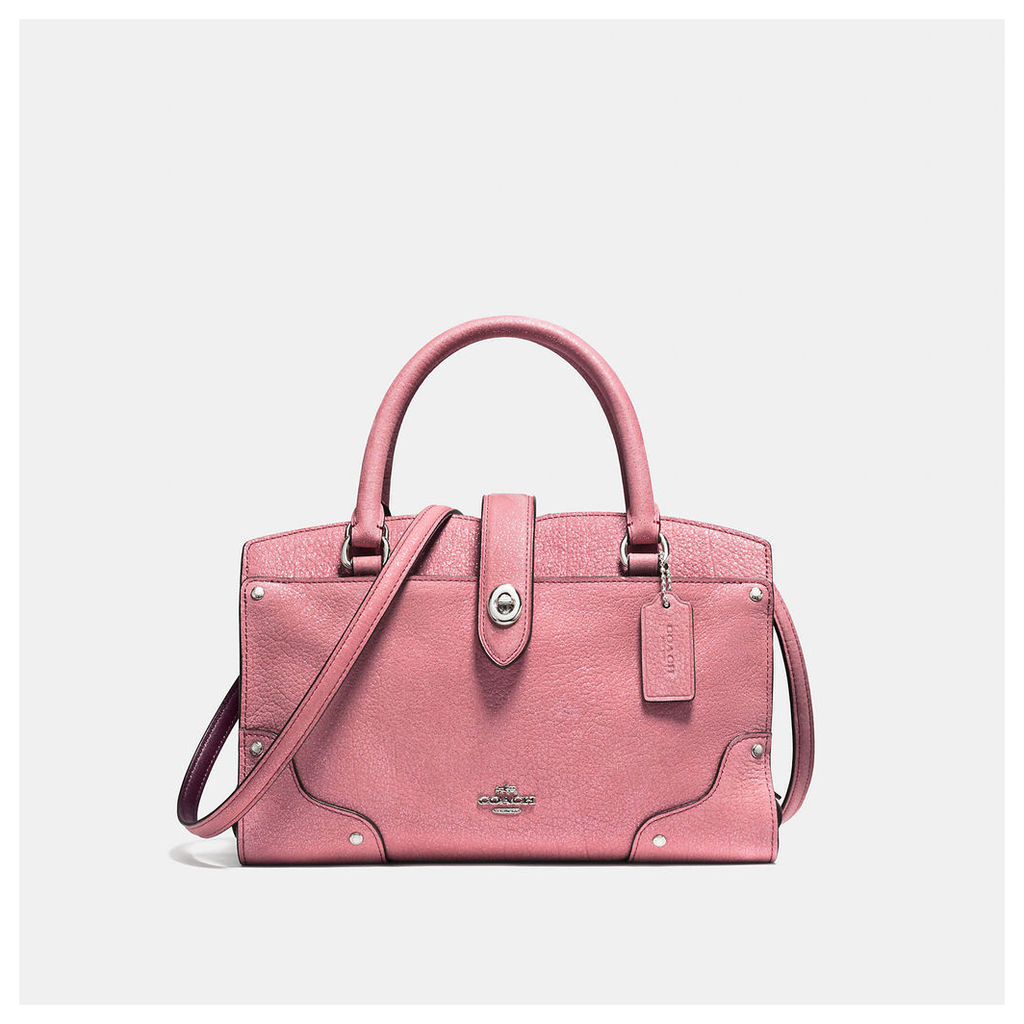 Coach Mercer Satchel 24 In Glitter Rose Grain Leather