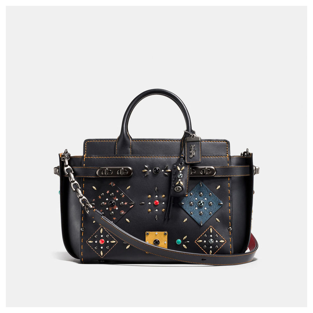 Coach Double Swagger With Patchwork Prairie Rivets