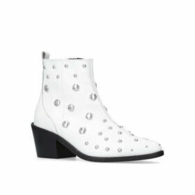 Womens Dome Ankle Boots Kurt Geiger London White Heeled Embellished Western Ankle Boot, 4 UK