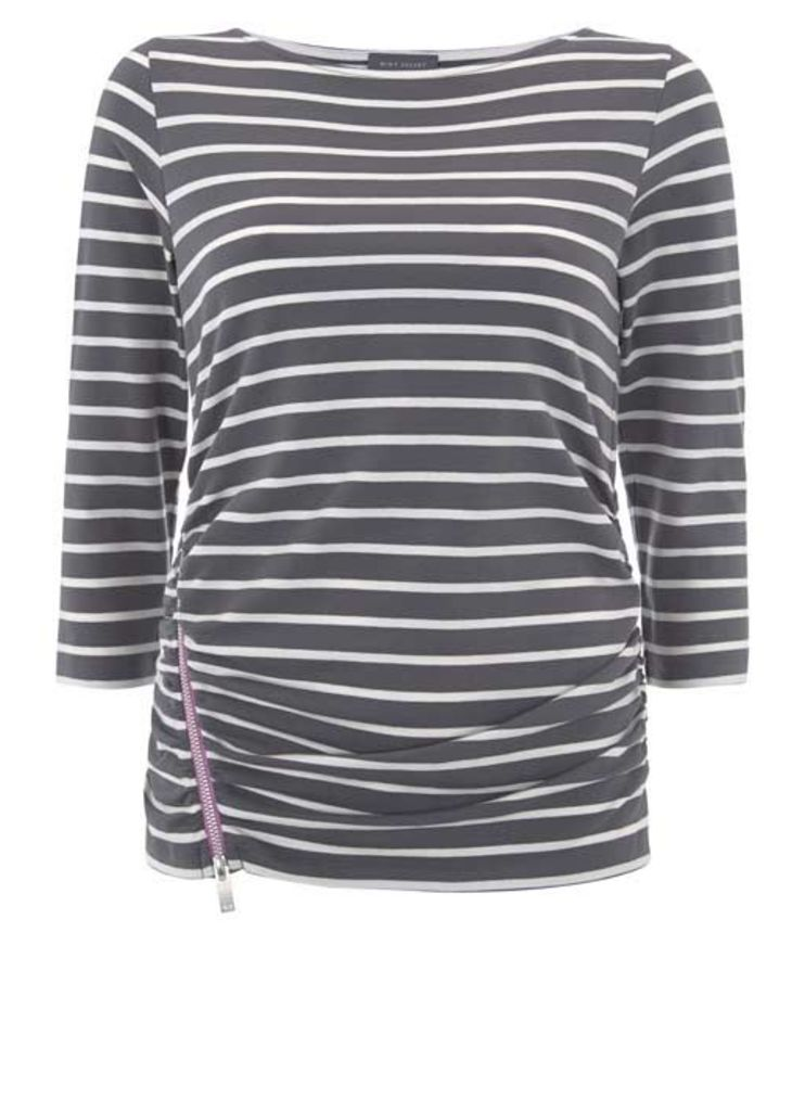 Contrast Zip Grey Stripe Tee
