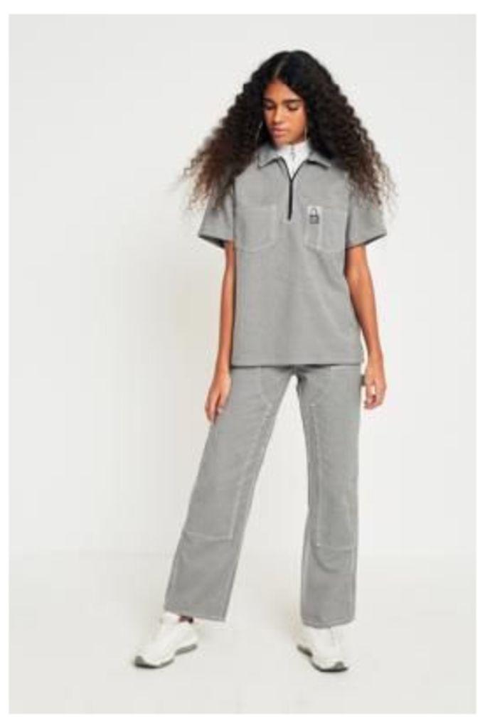 MadeMe/X-girl High-Rise Workwear Herringbone Trousers, Black & White