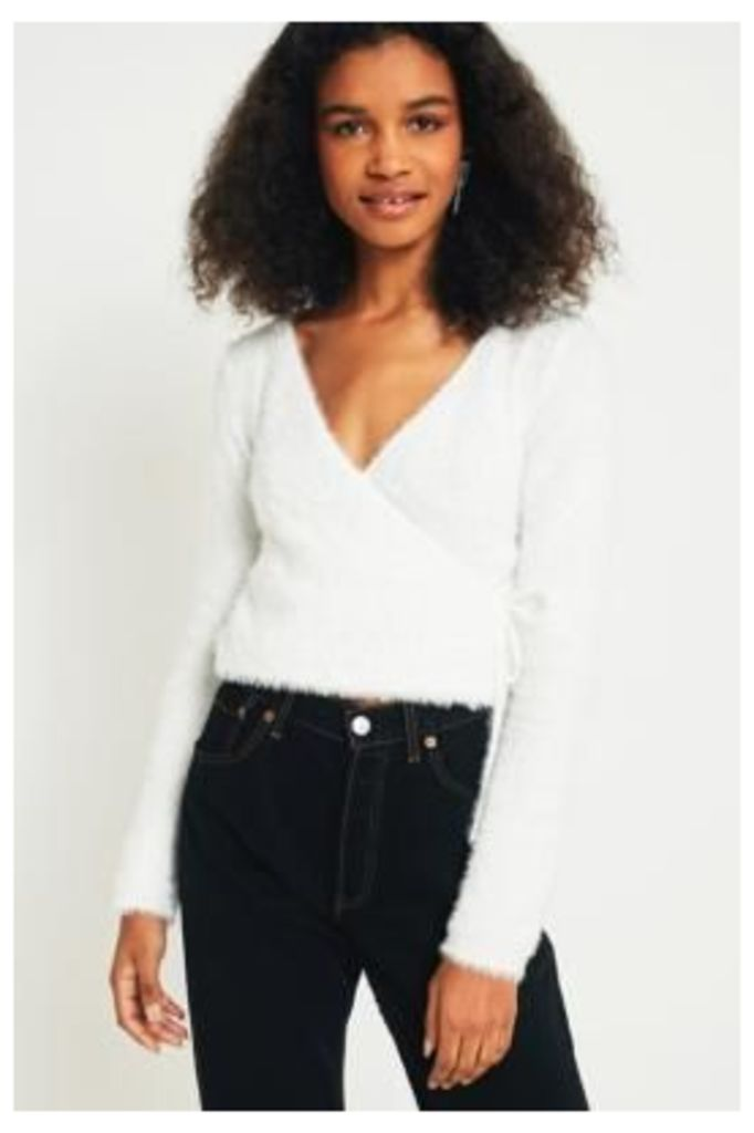 Urban Outfitters Fluffy Ballet Wrap Top, White