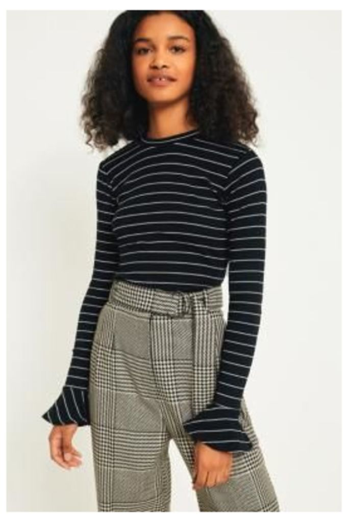 UO Ribbed Striped Trumpet Long Sleeve Knit Top, Black & White