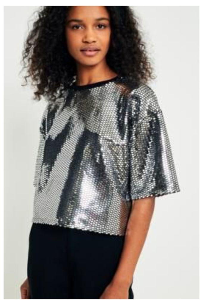 Light Before Dark Disco Sequin Short Sleeve Crop Top, Silver