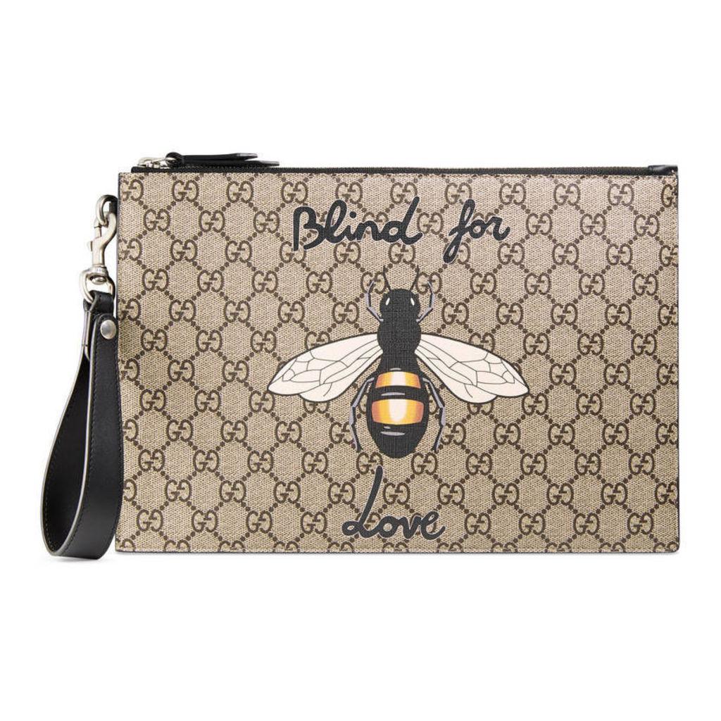 Bee print GG Supreme pouch