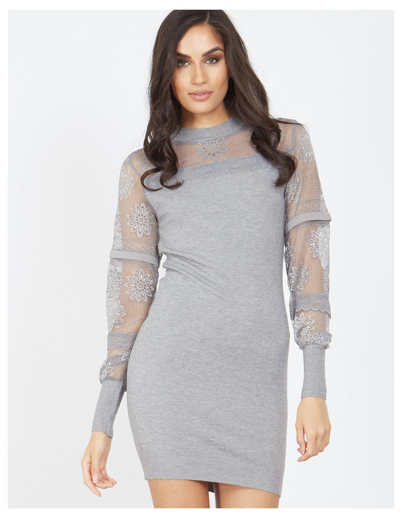 TIRSA - Lace Yoke Grey Dress