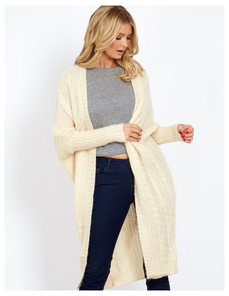 PEMA - Fluffy Cable Knitted Cream Oversized Cardigan