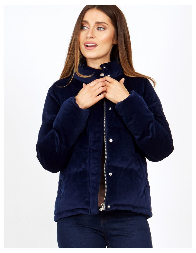 ALMA - Navy Velvet Funnel Neck Puffer Jacket