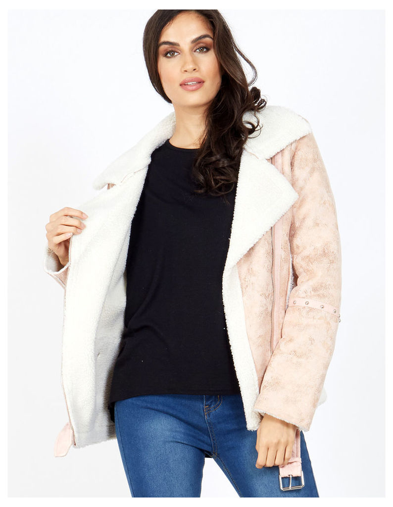RANI - Pink Studded Detail Aviator Shearling Jacket