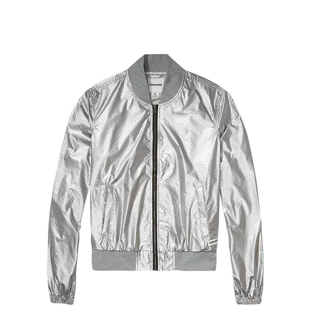Women's Perforated Metallic Nylon MA-1 Jacket